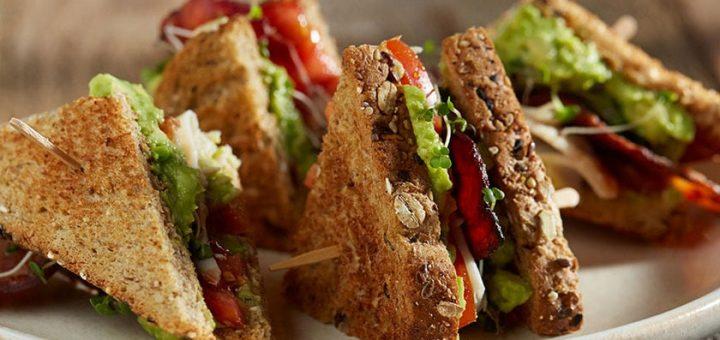 whole wheat mixed bread club sandwich